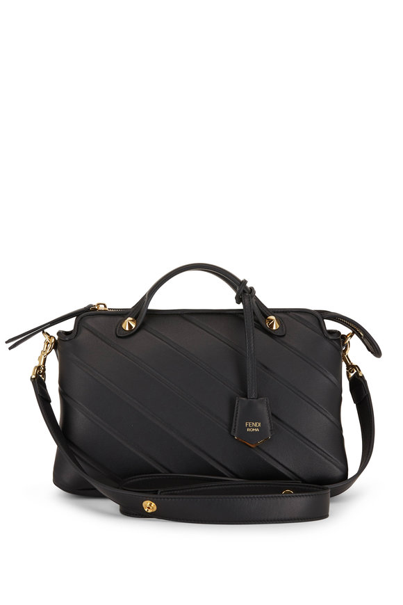 Fendi By The Way Black Striped Leather Medium Bag