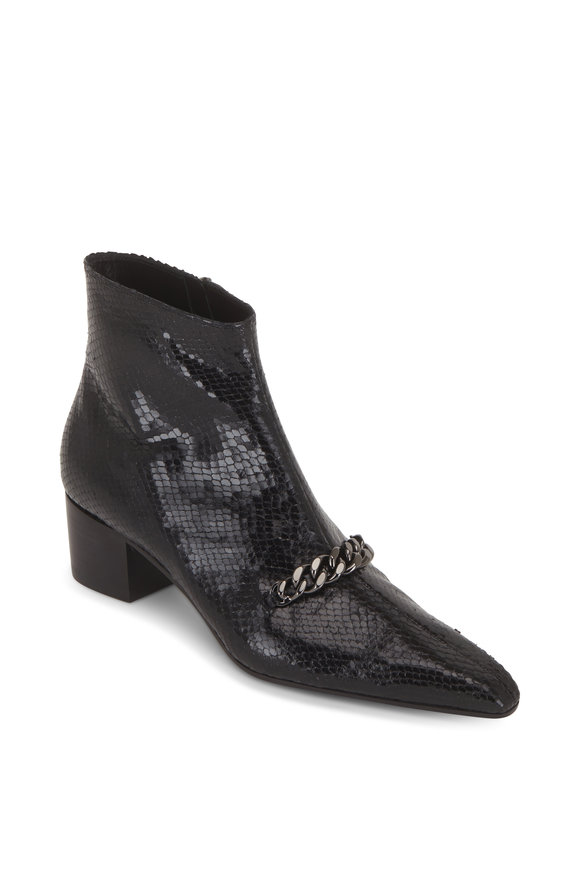 Tom Ford Black Python Embossed Chain Ankle Boot, 45mm