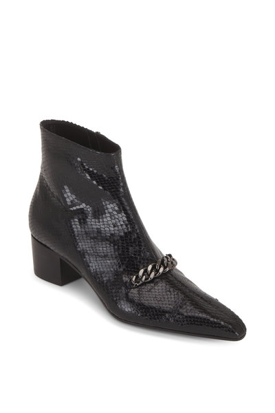 Tom Ford - Black Python Embossed Chain Ankle Boot, 45mm
