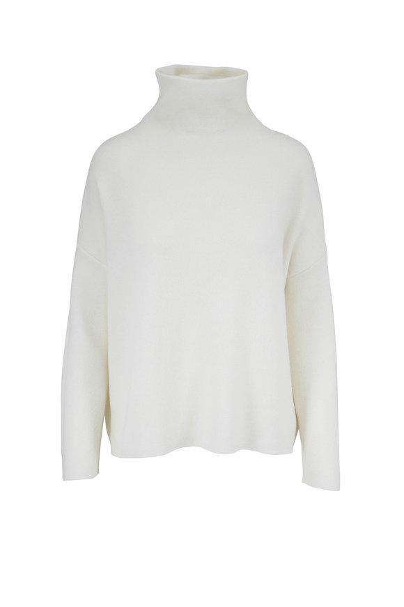 Vince Optic White Wool & Cashmere Funnel Neck Sweater