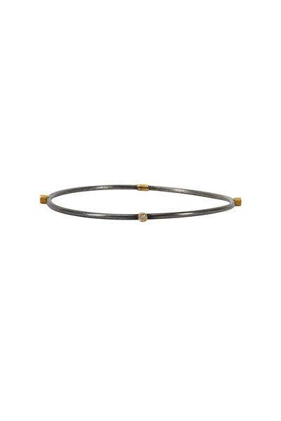 Yossi Harari - Jane Yellow Gold & Silver Diamond Stack Bangle