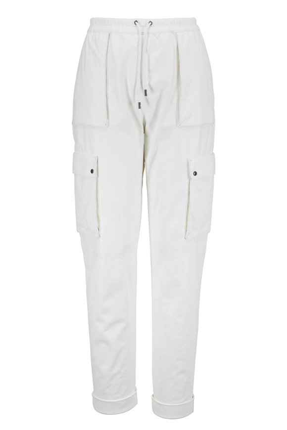 Tom Ford White Leather Drawstring Cargo Jogger