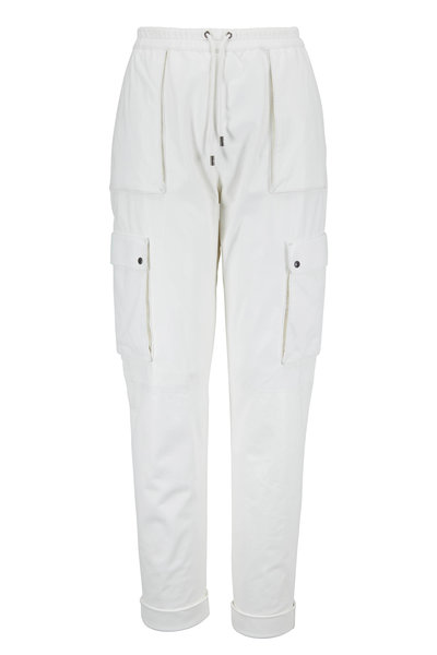 Tom Ford - White Leather Drawstring Cargo Jogger