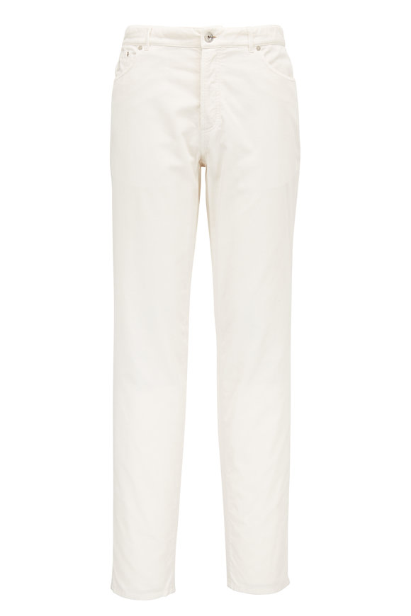 Brunello Cucinelli Off White Corduroy Traditional Pant