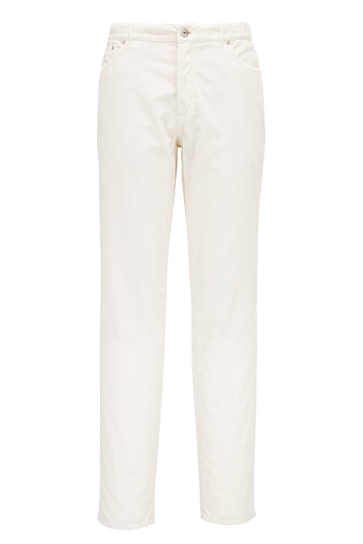 Brunello Cucinelli - Off White Corduroy Traditional Pant