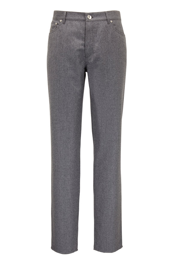 Brunello Cucinelli Gray Flannel Five Pocket Traditional Fit Pant