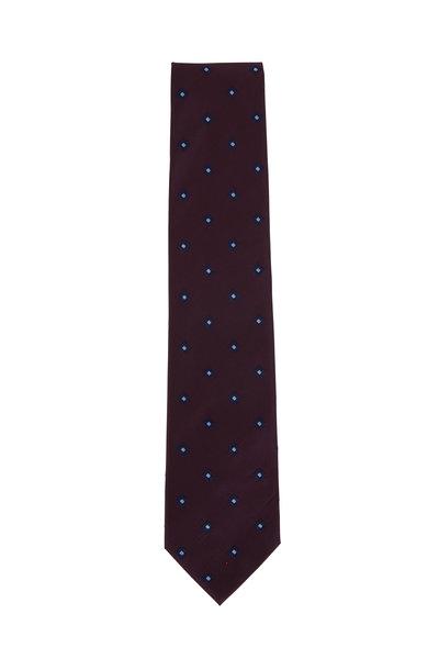 Ermenegildo Zegna - Deep Burgundy Patterned Silk Necktie