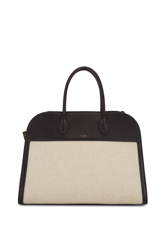 The Row Margaux 15 Natural Canvas & Black Leather Tote