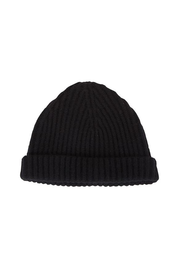 Raffi  Black Cashmere Ribbed Cap