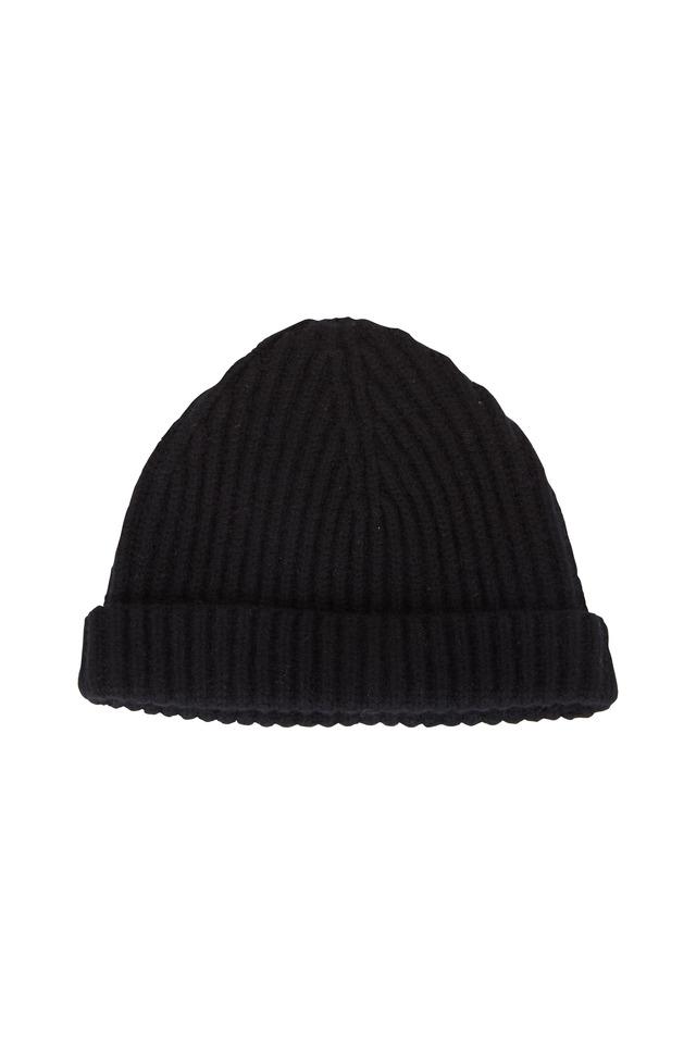 Black Cashmere Ribbed Cap