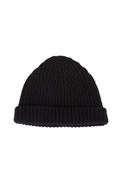 Raffi - Black Cashmere Ribbed Cap