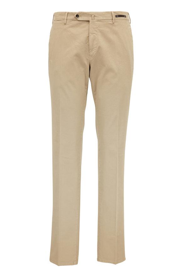 PT Pantaloni Torino Tan Stretch Cotton Super Slim Flat Front Pant