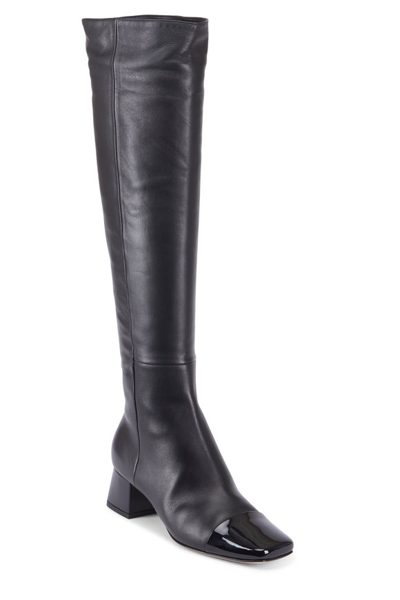 Gianvito Rossi Vernice Black Leather Cap-Toe High Boot, 45mm