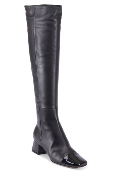 Gianvito Rossi - Vernice Black Leather Cap-Toe High Boot, 45mm