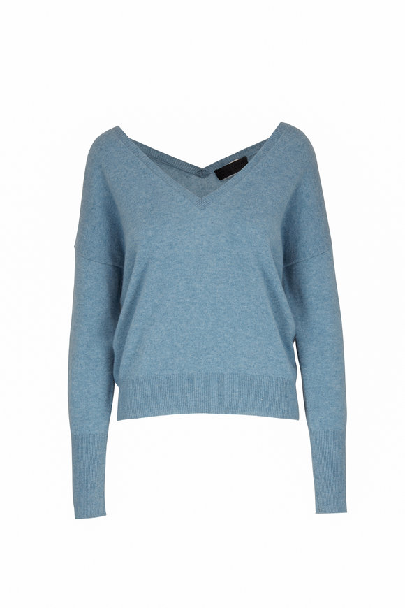 Nili Lotan Kylan Sky Blue Cashmere V-Neck Sweater