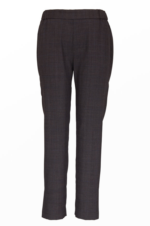 Nili Lotan Chelsea Brown Melange Stretch Wool Pant