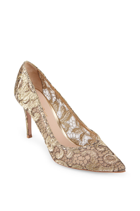 Gianvito Rossi Mavis Gold & Black Lurex Lace Pump, 85mm