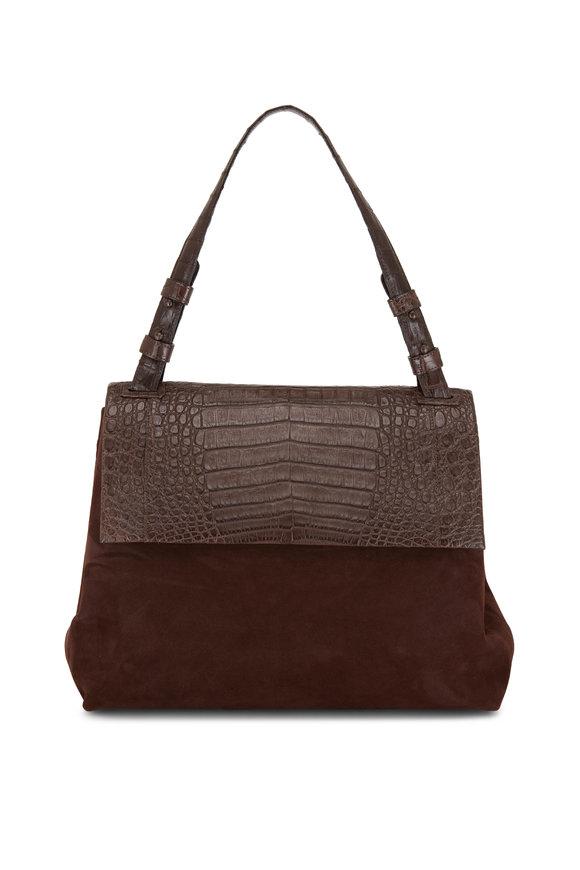Nancy Gonzalez Sophie Dark Brown Suede & Crocodile Shoulder Bag