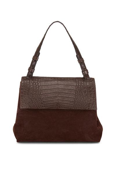 Nancy Gonzalez - Sophie Dark Brown Suede & Crocodile Shoulder Bag