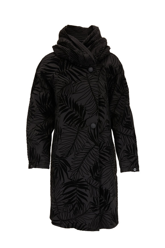 Mycra Pac Donatella Black Palm Flock Reversible Travel Coat