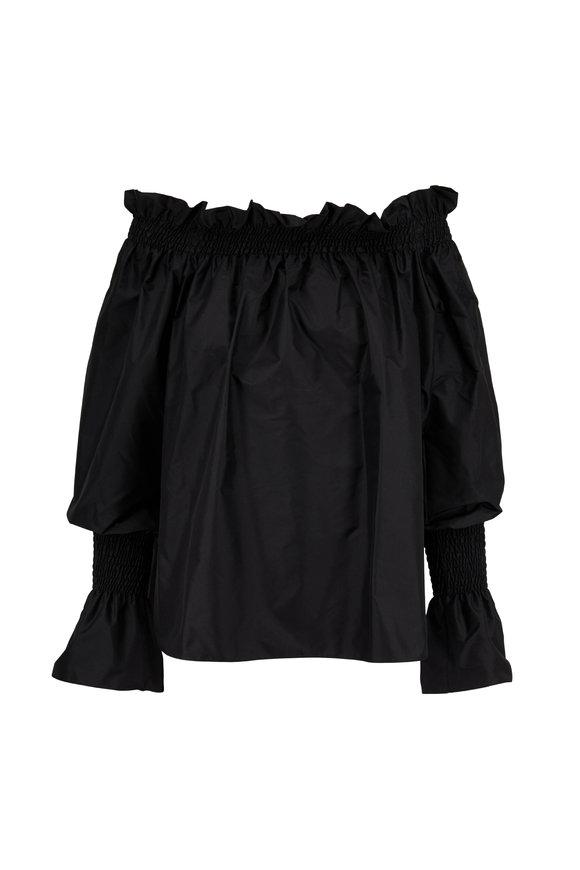 Adam Lippes Black Silk Taffeta Off-The-Shoulder Top