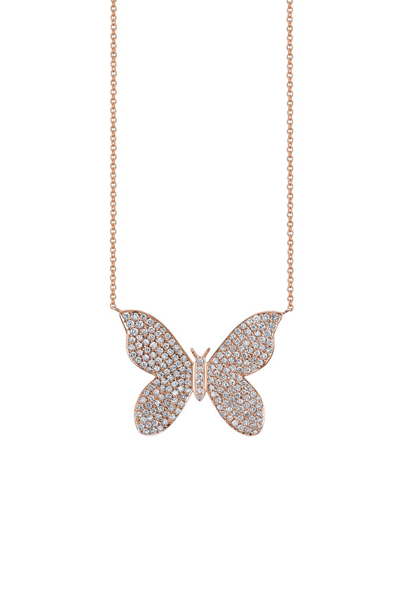Sydney Evan 18K Rose Gold Large Pavé Butterfly Necklace