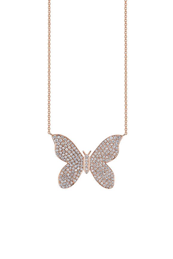 Sydney Evan 18K Rose Gold Large Pavé Butterfly Necklace