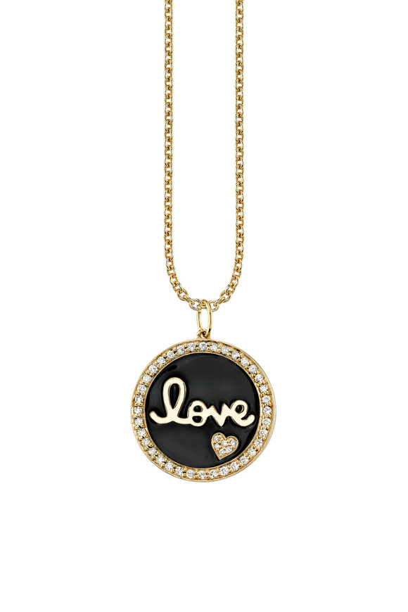 Sydney Evan Yellow Gold Script Love Medallion Necklace