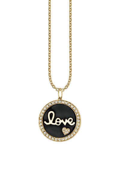 Sydney Evan - Yellow Gold Script Love Medallion Necklace