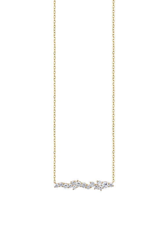 Sydney Evan Yellow Gold Short Diamond Bar Necklace