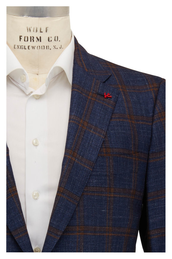 Isaia Navy Blue & Rust Windowpane Wool Blend Sportcoat
