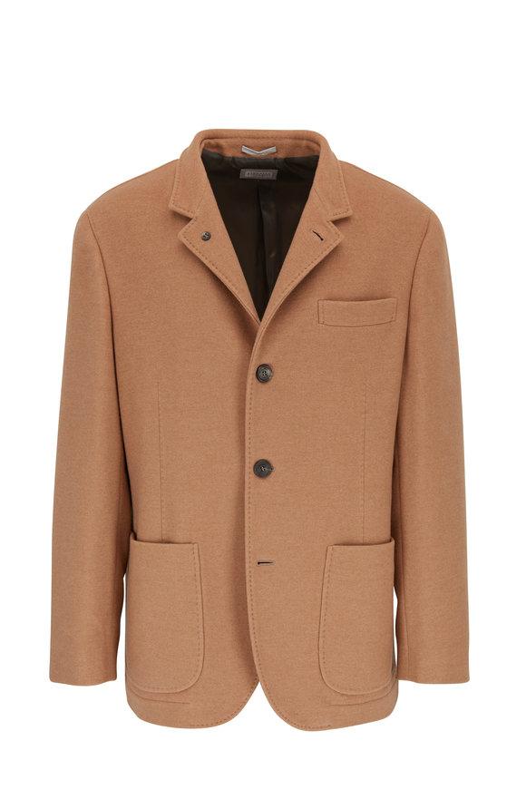 Brunello Cucinelli Camel Cashmere Patch Pocket Blazer
