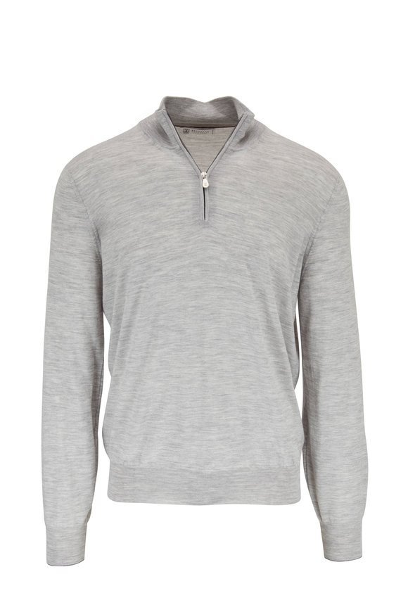 Brunello Cucinelli Light Gray Wool & Cashmere Quarter-Zip Pullover