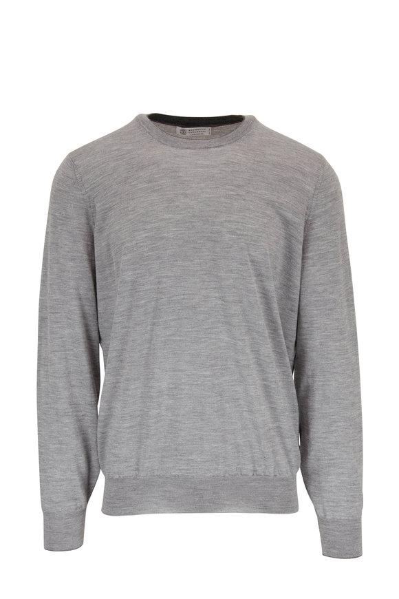 Brunello Cucinelli Gray Wool &  Cashmere Crewneck Knit Pullover