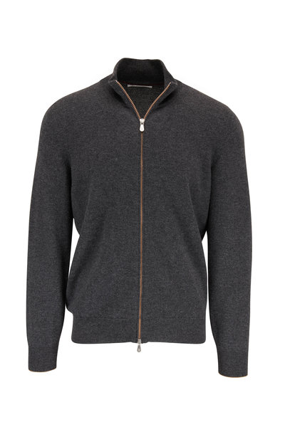 Brunello Cucinelli - Charcoal Gray Cashmere Front Zip Cardigan
