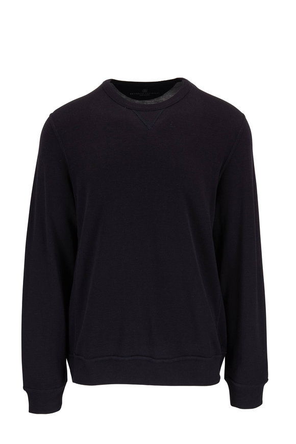Brunello Cucinelli Navy Blue Cotton & Silk Crewneck Pullover