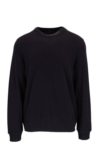 Brunello Cucinelli - Navy Blue Cotton & Silk Crewneck Pullover