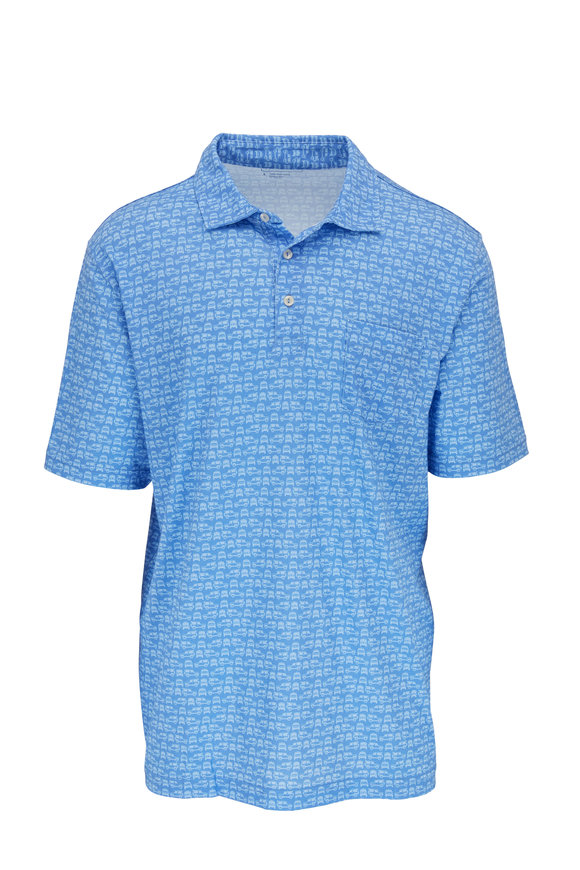 Peter Millar Seaside Blue Car Pattern Short Sleeve Polo