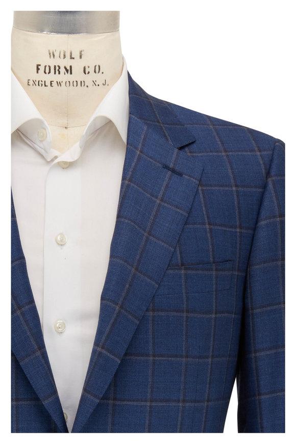 Canali Navy Blue Windowpane Wool Sportcoat