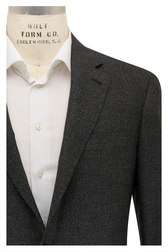 Canali Kei Charcoal Gray Tonal Texture Wool Sportcoat