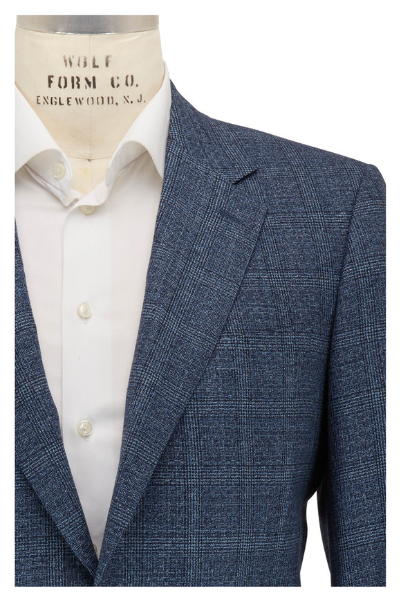 Canali Navy Blue Tonal Glenplaid Wool Sportcoat