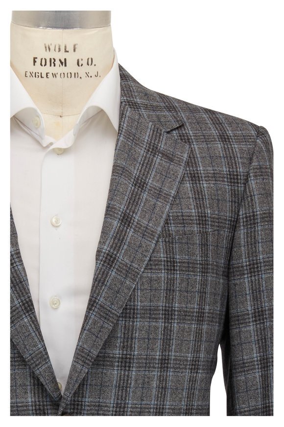 Canali Light Gray & Navy Blue Glenplaid Wool Sportcoat