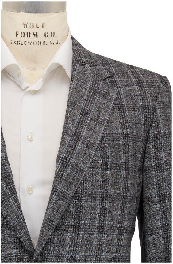 Canali Light Gray & Navy Blue Glenplaid Wool Sportcoat