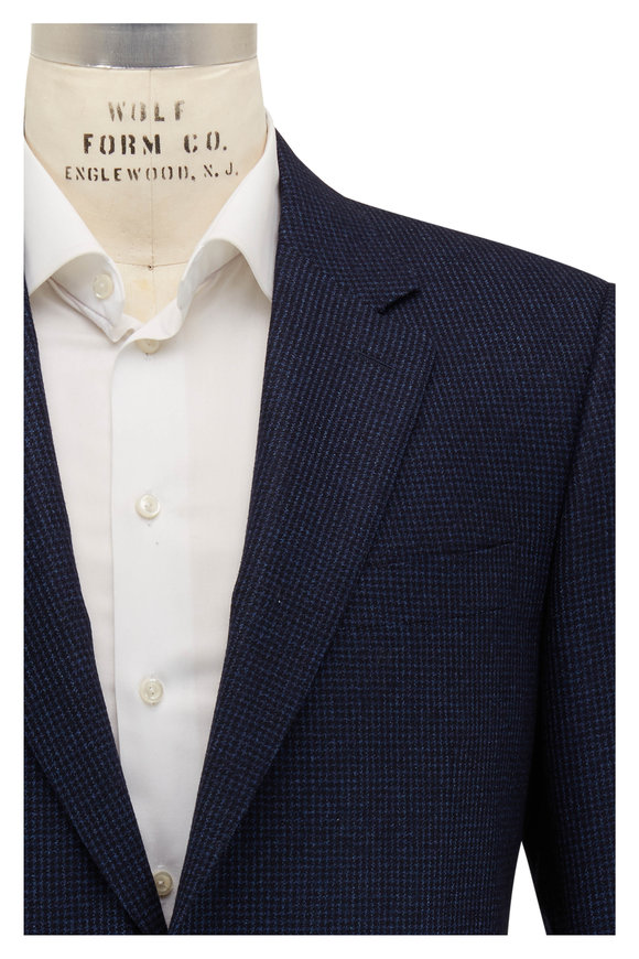 Canali Navy Blue Tonal Houndstooth Wool Sportcoat