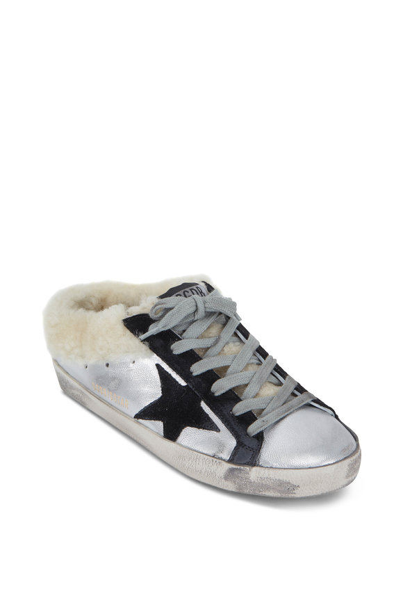 Golden Goose Superstar Silver Shearling Lined Slide Sneaker