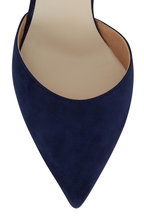 Francesco Russo - Navy Blue Suede D'Orsay Pump, 75mm