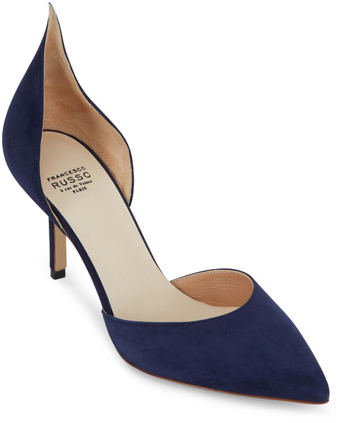 Francesco Russo  Navy Blue Suede D'Orsay Pump, 75mm