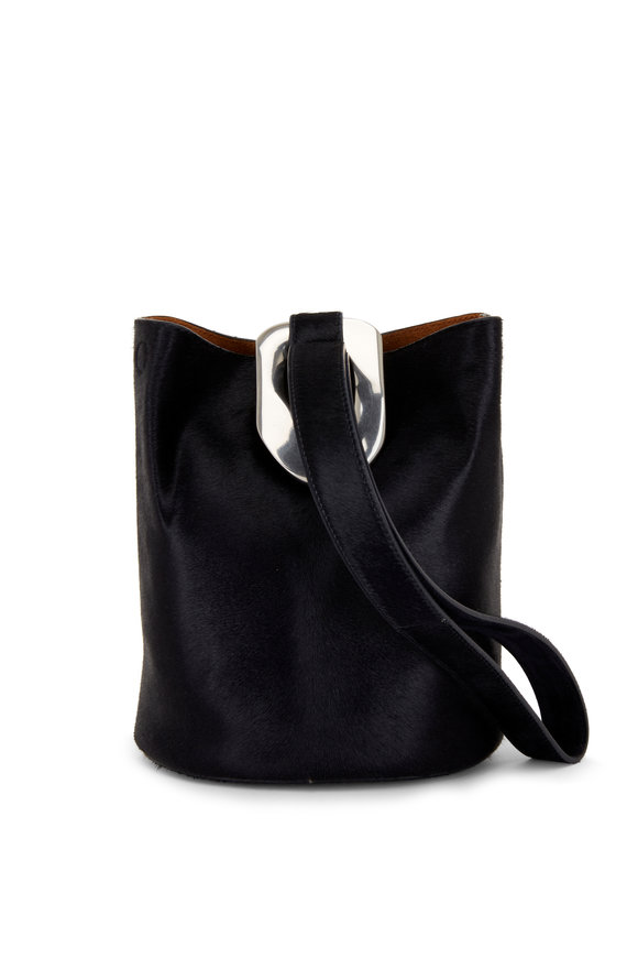 Bottega Veneta Drop Bag Midnight Pony Hair Small Bucket Bag
