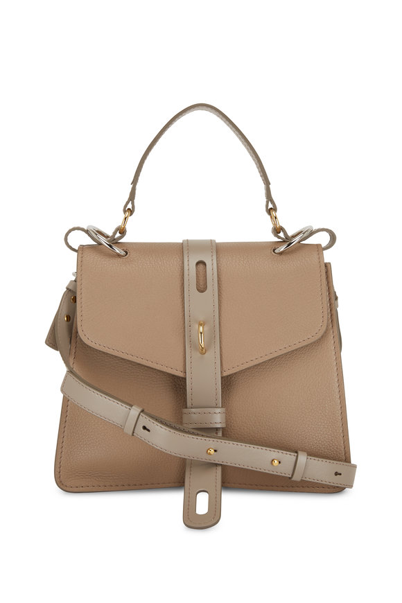 Chloé Aby Motty Gray Leather Padlock Small Shoulder Bag