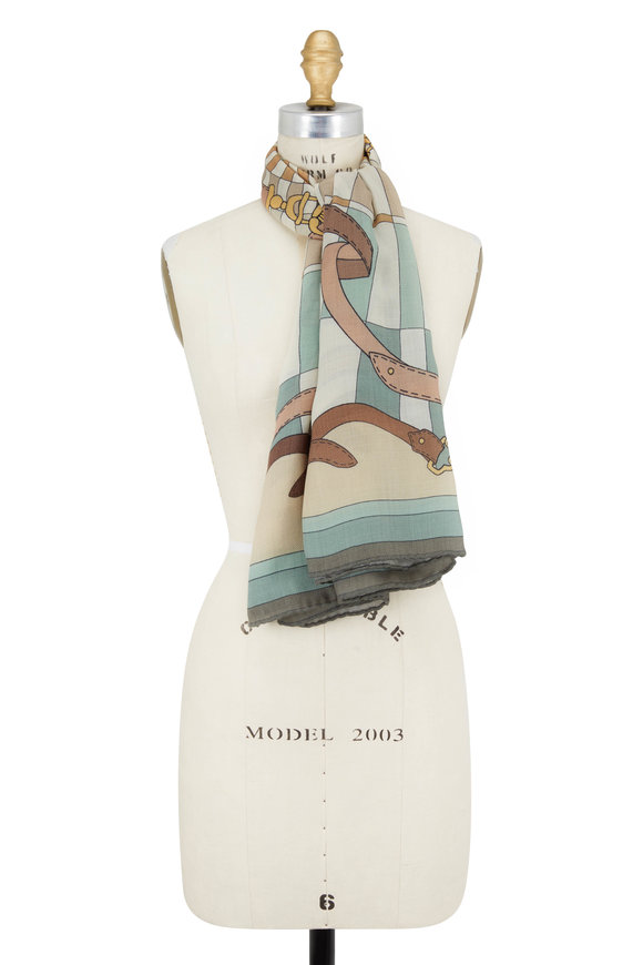 Rani Arabella Green & Brown Cashmere, Silk & Wool Printed Scarf